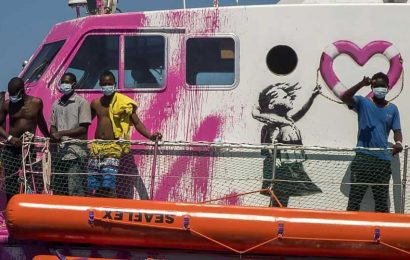 Louise Michel: British street artist Banksy funds rescue boat with 89 refugees on board