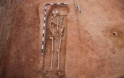 Skeletal remains of an adult unearthed at Keeladi