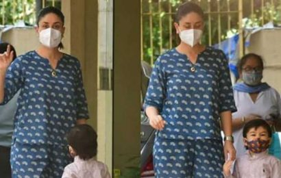 Kareena Kapoor steps out in style with son Taimur as they pay Karisma Kapoor a visit. See pics