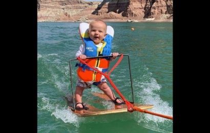 6-month-old goes water skiing like a pro. Video prompts mixed reactions among netizens