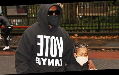 Kanye West and daughter North step out in London in matching 'Vote Kanye' shirts months after shock comments