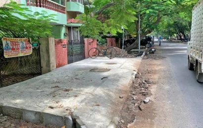 Footpaths come up on road in Besant Nagar, Kalakshetra Colony residents are unimpressed