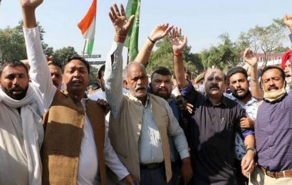 PDP leaders protesting against land laws held in Srinagar
