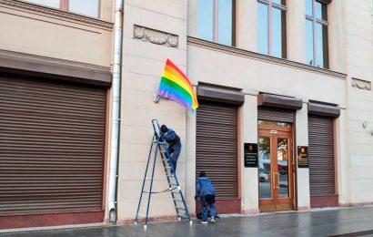 Russia: Pussy Riot mark Vladimir Putin's birthday with rainbow flags