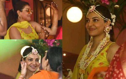 Kajal Aggarwaldancing to the beats of dholat her Haldi ceremony