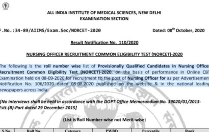 AIIMS NORCET results 2020 declared at aiimsexams.org, here's direct link to check