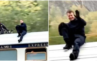 Tom Cruise shoots another daredevil stunt for Mission Impossible 7 on top of a high-speed train, waves to fans