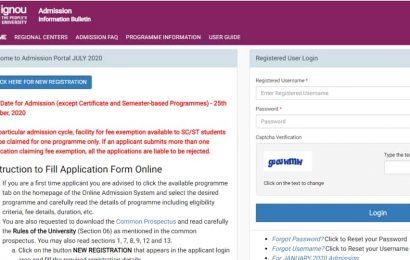 IGNOU July 2020 session application deadline extended till October 25
