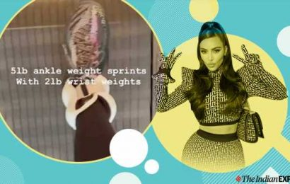 Kim Kardashian exercises with ankle and wrist weights; check it out