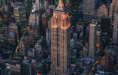 Iconic Empire State Building lit up in orange for Diwali