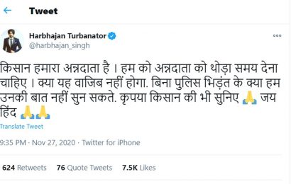 Bhajji tweets: 'Listen to the farmers'