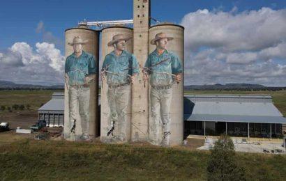 Artist in Australia paints huge murals on old grain silos. Pics are stunning