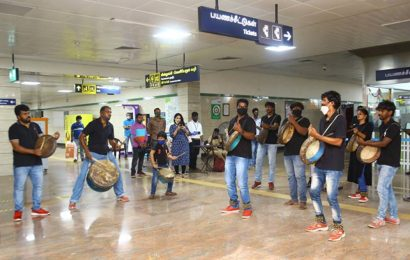 To spread Covid-19 safety awareness, Chennai Metro ties up with a Parai troupe