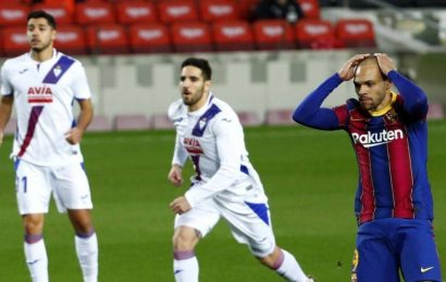 La Liga: Barcelona held 1-1 at home by Eibar without Messi
