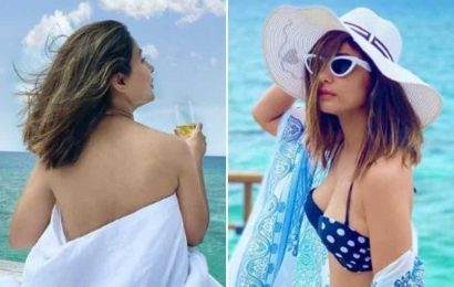 Hina Khan poses in a blanket and a bikini in new pictures from Maldives vacation. See here