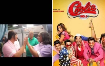 Varun Dhawan introduces nurses Karishma and Kareena as he shares behind-the-scenes video of Coolie No 1