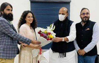 Kangana Ranaut meets Rajnath Singh with the team of Tejas, seeks his 'blessings' for the film