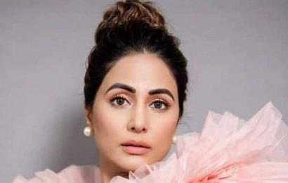 Hina Khan shows off her stylish peach gown in these gorgeous pictures