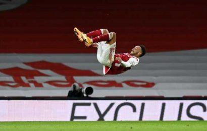 PIX: Aubameyang double as Arsenal rout Newcastle
