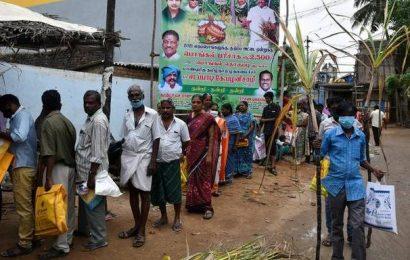 Distribution of Pongal gift hamper, cash begins