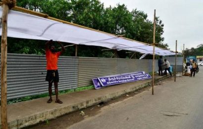 Temporary bus stands come up