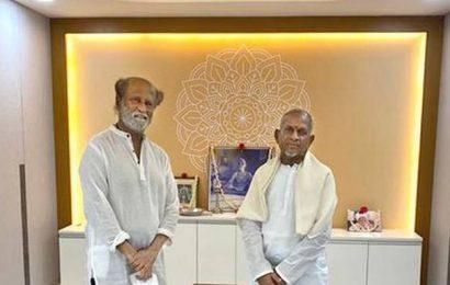 Rajinikanth visits Ilaiyaraaja's new studio