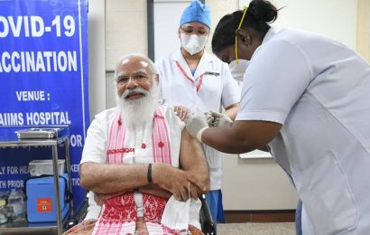 PM Narendra Modi takes first dose of COVID-19 vaccine at Delhi's AIIMS