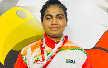 Boxing: Southpaw Alfiya Pathan punching the concrete ceiling of 81kg