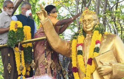 L-G garlands Ambedkar's statue on his 130th birth anniversary