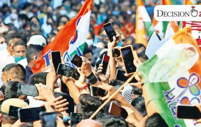 On TMC smartphone screens, Mamata as Durga
