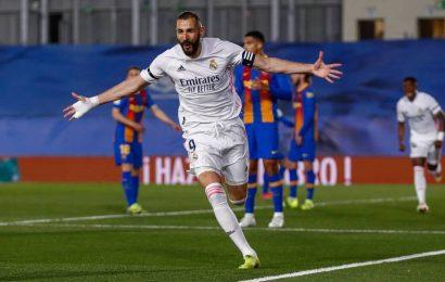 Real Madrid go top of La Liga after beating Barcelona in rain-soaked 'El Clasico'
