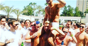 Mark Wright wears just a pink thong as new photos emerge from wild Vegas stag do before Michelle Keegan wedding