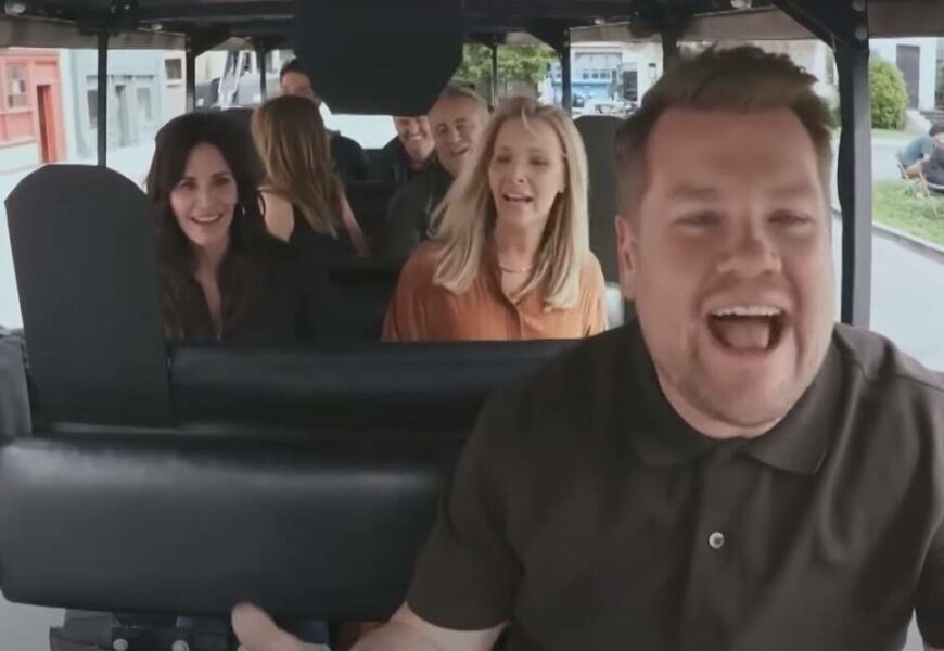 Friends cast sings theme song with James Corden, and he 'nearly kills' them. Watch