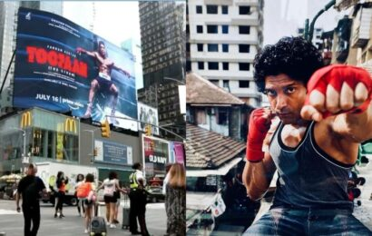 Farhan Akhtar is ecstatic as Toofan gets a billboard in Times Square, Mrunal Thakur says 'it was meant to be'