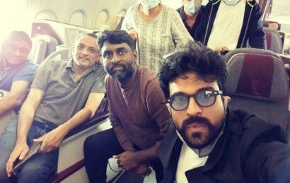 Ram Charan selfie with RRR team in flight