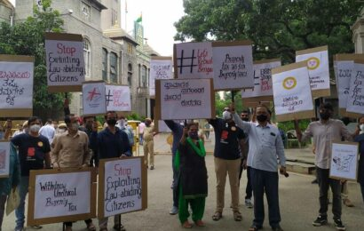 Bengaluru Navanirmana Party protests in front of BBMP office, online against 'unfair' tax notices