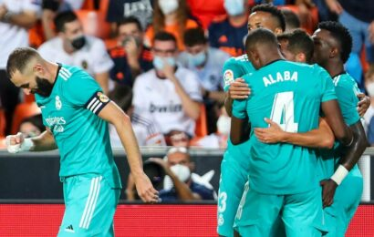 Laliga: Vinicius Junior, Benzema lead Real Madrid to 2-1 win at Valencia