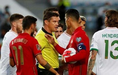 Watch: Ronaldo escapes red as he appears to punch Irish player before taking a spot kick